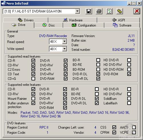 HL-DT-ST DVDRAM GSA-H10N SCSI CdRom Device Driver