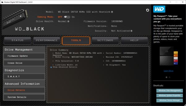 CDRLabs com - SSD Dashboard Software - Western Digital WD